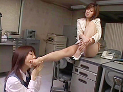Japanese lesbian office foot worship