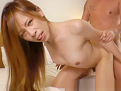 Busty oriental tranny gets doggystyle fucked