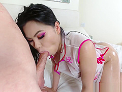 Hot Asian In Oriental Lingerie Teasing and Getting Oiled up for Fucking