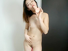 Japanese camgirl strips naked