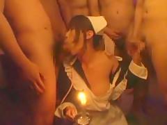 Exotic Japanese whore Kaho Kasumi in Fabulous Gangbang, Bukkake JAV clip